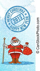 new year santa - chistmas and new year greeting card, vector...
