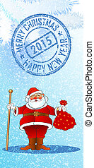 SANTA - chistmas and new year greetin card, vector...