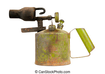 Vintage Kerosene Blowtorch Isolated on White Background - A...
