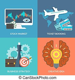 Set of flat design concept icons for business. Stock market, Tic