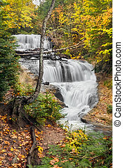 Sable Falls, a beautiful cascading waterfall in Michigans...