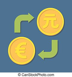 Currency exchange. Euro and Yuan. Vector illustration