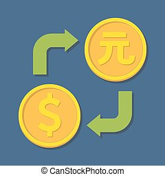 Currency exchange. Dollar and Yuan. Vector illustration
