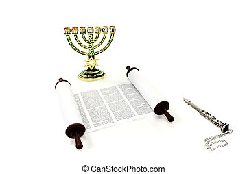 Torah scroll with menorah and pointer on light background