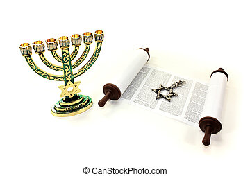 Torah scroll with menorah and Star of David on a light...
