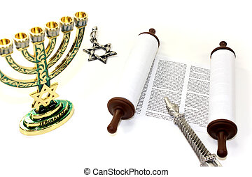 Torah scroll with menorah, Star of David and pointer on...