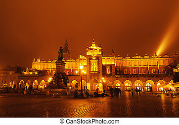 Market square in Cracow at night - Market hall at main...