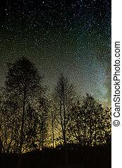 Star sky - Night green sky with lot of shiny stars, many...
