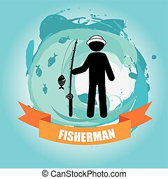 fisherman design over blue background vector illustration