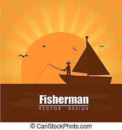 fisherman design over sunset background vector illustration...