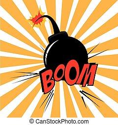 Bomb design over grunge  background vector illustration