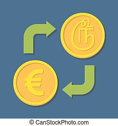 Currency exchange. Euro and Tamil Rupee. Vector illustration