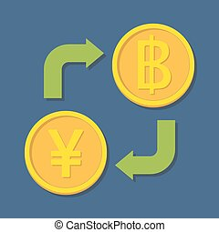 Currency exchange. Yen(Yuan) and Baht. Vector illustration