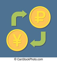 Currency exchange. Yen(Yuan) and Ruble. Vector illustration