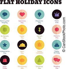 Set of flat icons for main national holidays