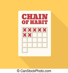 Flat Style Icon with Long Shadow Chain of Habit Concept for...