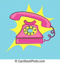 old phone over dotted background vector illustration