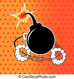 Bomb design over dotted background vector illustration