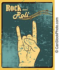 rock and roll design over dotted background vector...