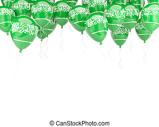 Balloon frame with flag of saudi arabia isolated on white