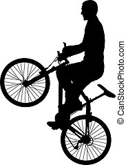 bicyclist - vector illustration of man doing bike trick