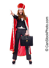mujer, mujer de negocios, Posar, como, reina, aislado, en,...