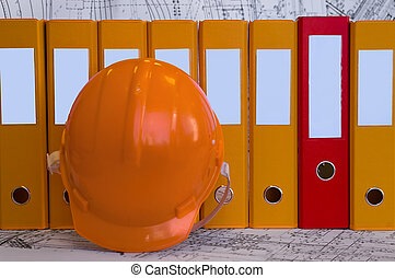 Constructional objects - Yellow, red file folders, helmet...