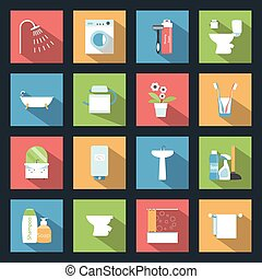 Bathroom flat icons set vector graphic illustration
