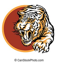 Roaring tiger logo design drawn in tattoo style