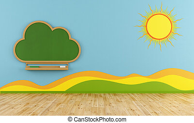 Playroom with cloud chalkboard - Colorful Playroom with...