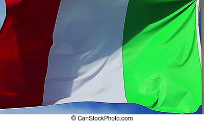 Italian flag waving in a strong wind very detailed and vivid...
