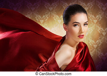 red scarf - beautiful girl with red scarf