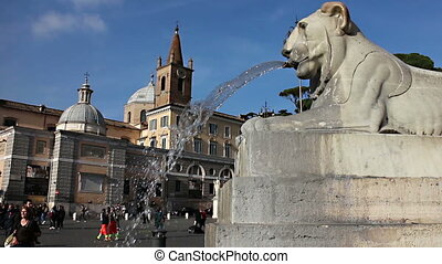 Piazza del popolo - Shot of the famous u201CFontana del...