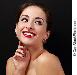 Happy makeup woman with smile looking Closeup portrait on...