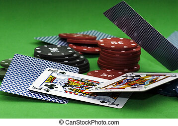 Cards and gambling chips