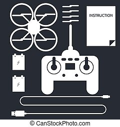 Complete set for quadrocopter. Flat icons vector collection....
