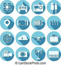 Flat vector icons for quadrocopter set - Flat blue circle...