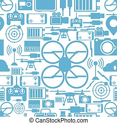 Seamless vector background for quadrocopter set - Blue...