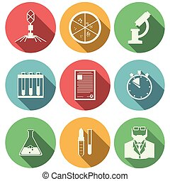 Flat vector icons for microbiology - Set of colored circle...