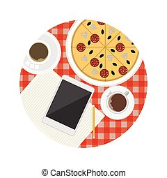 Flat vector icon for business lunch table - Two coffee cups,...