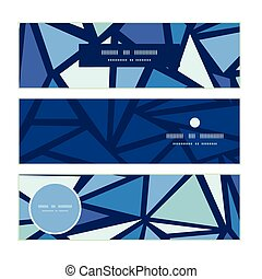 Vector abstract ice chrystals horizontal banners set pattern...