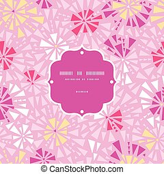Vector pink abstract triangles frame seamless pattern...
