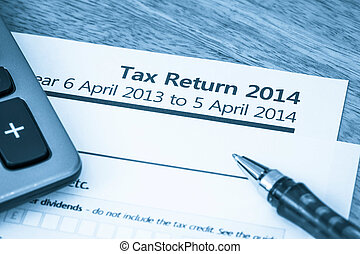 Tax return form 2014 - Cool toned image of UK income tax...