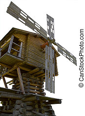 Wooden old windmill isolated over white