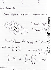 Mathematics - Surface integration equations and diagram for...