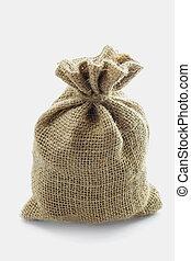Empty textile burlap sack isolated on white background