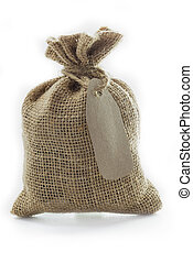Empty textile burlap sack with blank tag