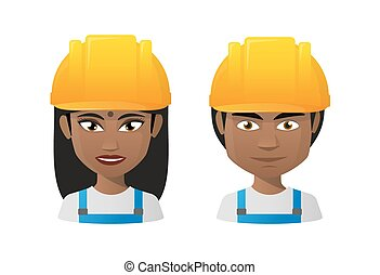 Young indians wearing workwear - Illustration of two young...