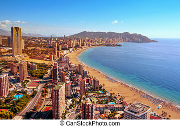 aerial view of Benidorm, Spain - aerial view of Benidorm, in...
