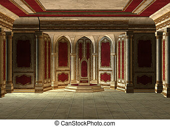 Fairytale Throne Room - 3D digital render of a beautiful...